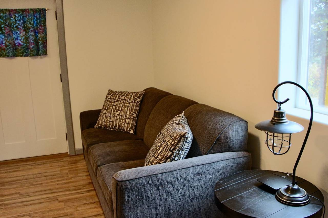 Sitting area and pull out couch